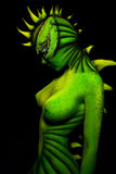 Woman-dragon bodyart Stock Images