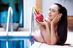 Woman with dragon fruit Royalty Free Stock Photo