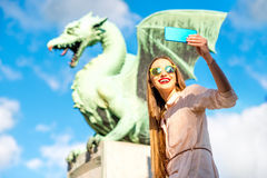 Woman with Dragon statue in Ljubljana city Stock Image
