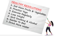 Woman drags the list of healthy resolutions Stock Photo