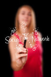 Woman draving social network theme on whiteboard Royalty Free Stock Photo