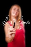 Woman draving social network theme on whiteboard. Young woman draving social network theme on whiteboard Stock Photography