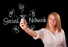 Woman draving social network theme on whiteboard Stock Images