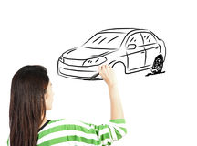 Woman draw car transportation Royalty Free Stock Photography