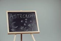 Woman draw on chalkboard Royalty Free Stock Image