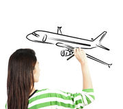 Woman draw plane transportation. On white background Stock Photo