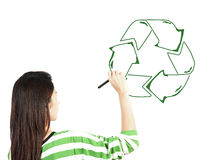 Woman draw recycle recycling sign Royalty Free Stock Photos
