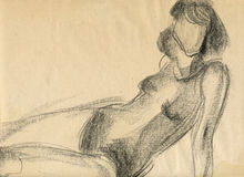 Woman, drawing Stock Photo