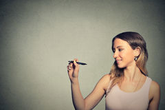 Woman drawing on board with empty copy space Stock Photos