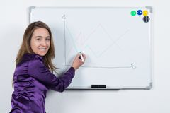 Woman is drawing at a board with a pen Royalty Free Stock Photography