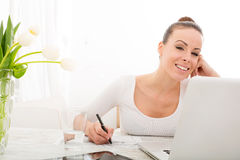 Woman drawing a building Stock Image