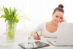 Woman drawing a building Royalty Free Stock Photo