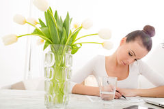 Woman drawing a building Stock Photo