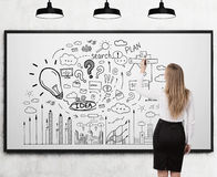 Woman drawing business idea sketch Stock Photography