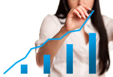 Woman drawing an chart Stock Images