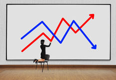 Woman drawing chart Royalty Free Stock Photo