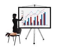 Woman drawing chart. On a white background Stock Photography
