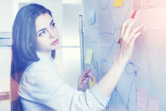 Woman drawing charts on whiteboard with red marker Stock Image