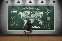 Woman drawing chemical concept Royalty Free Stock Photos