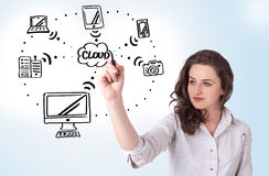 Woman drawing cloud computing Stock Photos