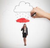 Woman and drawing clouds Royalty Free Stock Images