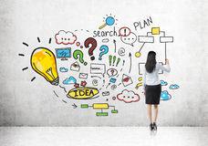 Woman drawing colorful business plan sketch Royalty Free Stock Photos