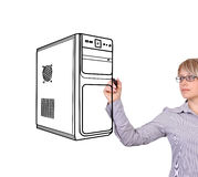 Woman drawing computer. System unit on a white background Stock Photography
