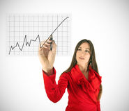 Woman drawing diagram Royalty Free Stock Photos