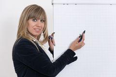 Woman is drawing on a flip chart Stock Photography