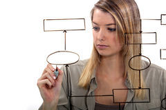 Woman drawing flow-chart Stock Photo