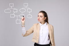 Woman drawing flowchart, business process concept Royalty Free Stock Photo