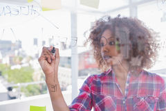 Woman drawing on flowchart with marker Stock Photo