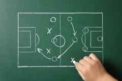 Woman drawing football game scheme on chalkboard. Top view royalty free stock photos