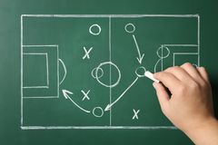 Woman drawing football game scheme on chalkboard. Top view stock photography