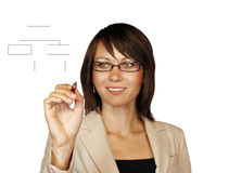 Woman drawing a graph Stock Photography