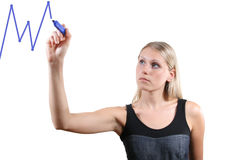 woman drawing a graph Royalty Free Stock Image