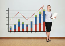Woman drawing graph Royalty Free Stock Images