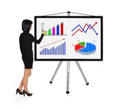 Woman drawing graph. Woman standing and drawing graph Stock Image