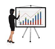 Woman drawing graph. Woman standing and drawing graph Stock Images