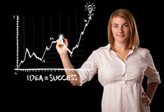 Woman drawing graph on whiteboard Stock Photos