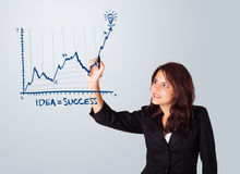 Woman drawing graph on whiteboard Royalty Free Stock Photos