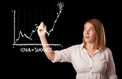 Woman drawing graph on whiteboard Royalty Free Stock Photo