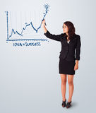 Woman drawing graph on whiteboard Stock Images