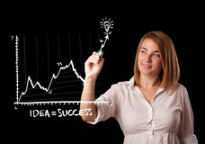 Woman drawing graph on whiteboard Royalty Free Stock Image