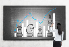 Woman drawing graphs on blackboard with chess pieces Royalty Free Stock Image