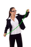 Woman drawing a growing graph Royalty Free Stock Photos