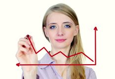 Woman drawing growth and success graph Stock Image