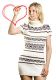 Woman Drawing Heart Shapes Royalty Free Stock Photography