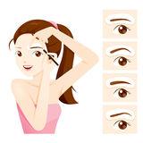 Woman Drawing Her Brow By Eyebrow Stencils Royalty Free Stock Photos