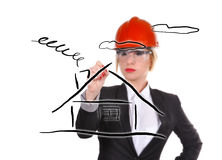 Woman drawing house Royalty Free Stock Photo